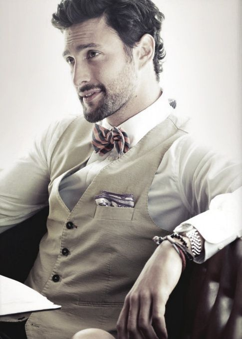 noah mills in a bow tie and pocket square hey cutie