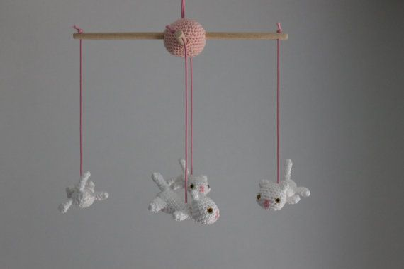 Little cats crochet baby mobile by ImCrochetInLove on Etsy