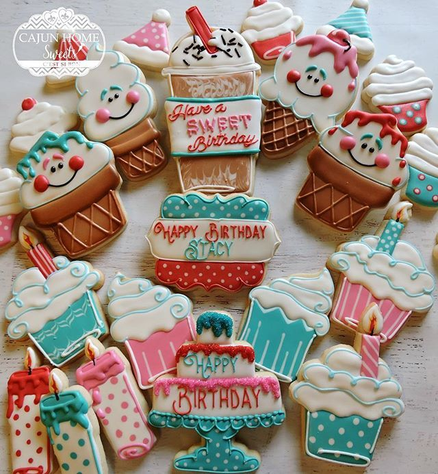 Have a SWEET birthday set. Ice cream design by @semisweetmike #decoratedcookies #decoratedsugarcookies #customdecoratedcookies #birthdaycookies #icecreamcookies #cupcakecookies