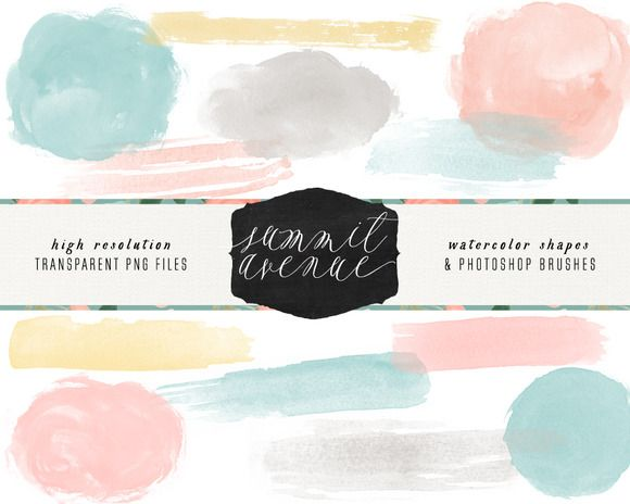 HandPainted Watercolor Brush Strokes by Summit Avenue on Creative Market