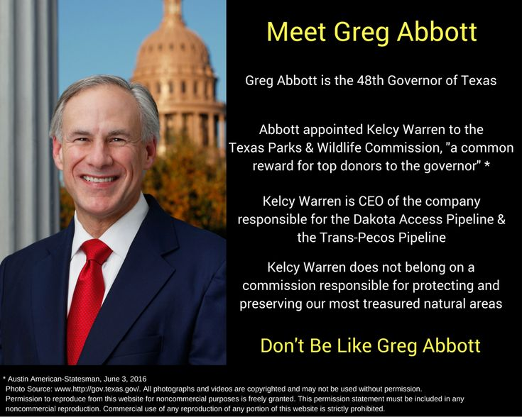 Pipeline billionaire Kelcy Warren and Energy Transfer Partners has given almost $900,000 to Governor Greg Abbott. He now sits, unconfimed by the Texas Senate, on the Texas Parks & Wildlife Commission.
