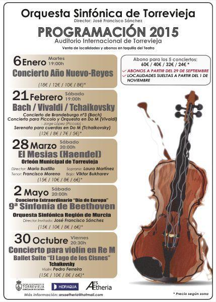 Torreviejan kaupungin orkesterin tulevat konsertit. Nauti musiikista!