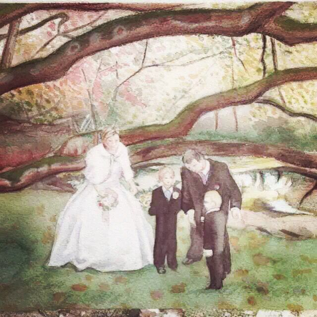 #watercolor #wedding #tree #lack #kids #Qianrong