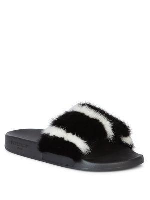 Givenchy - Striped Mink Fur & Rubber Slides