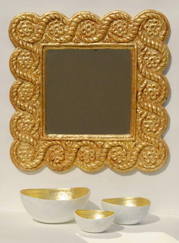 Knossos I : Handmade Papier Mache Mirror Greek  - Gold leaf,Silver leaf,Copper leaf