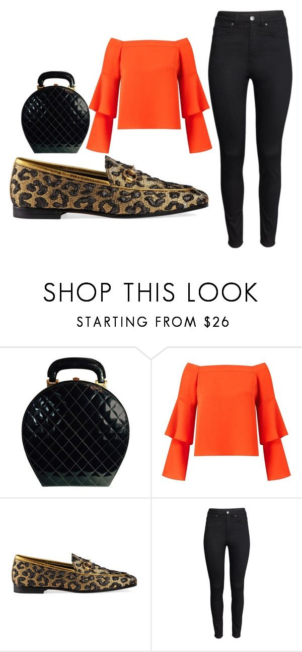"""леопардовые туфли"" by eiren-1 on Polyvore featuring мода, Chanel, Miss Selfridge, Gucci и H&M"