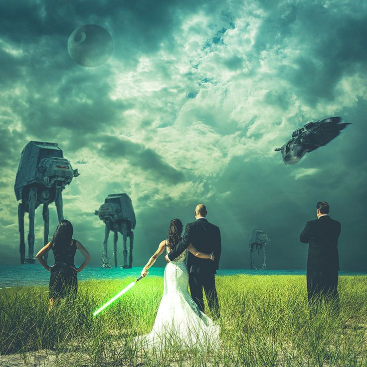 "At their wedding in Michigan on Friday, ""Star Wars"" fans John and Mindy Doychich (along with their maid of honor and best man) prepared for battle against AT-ATs and the Death Star in a shot captured and edited by photographer Steven Kowalski."