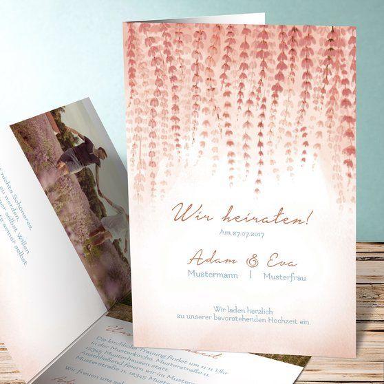 Blütenband Einladungskarten Hochzeit Romantische Hochzeitseinladungen