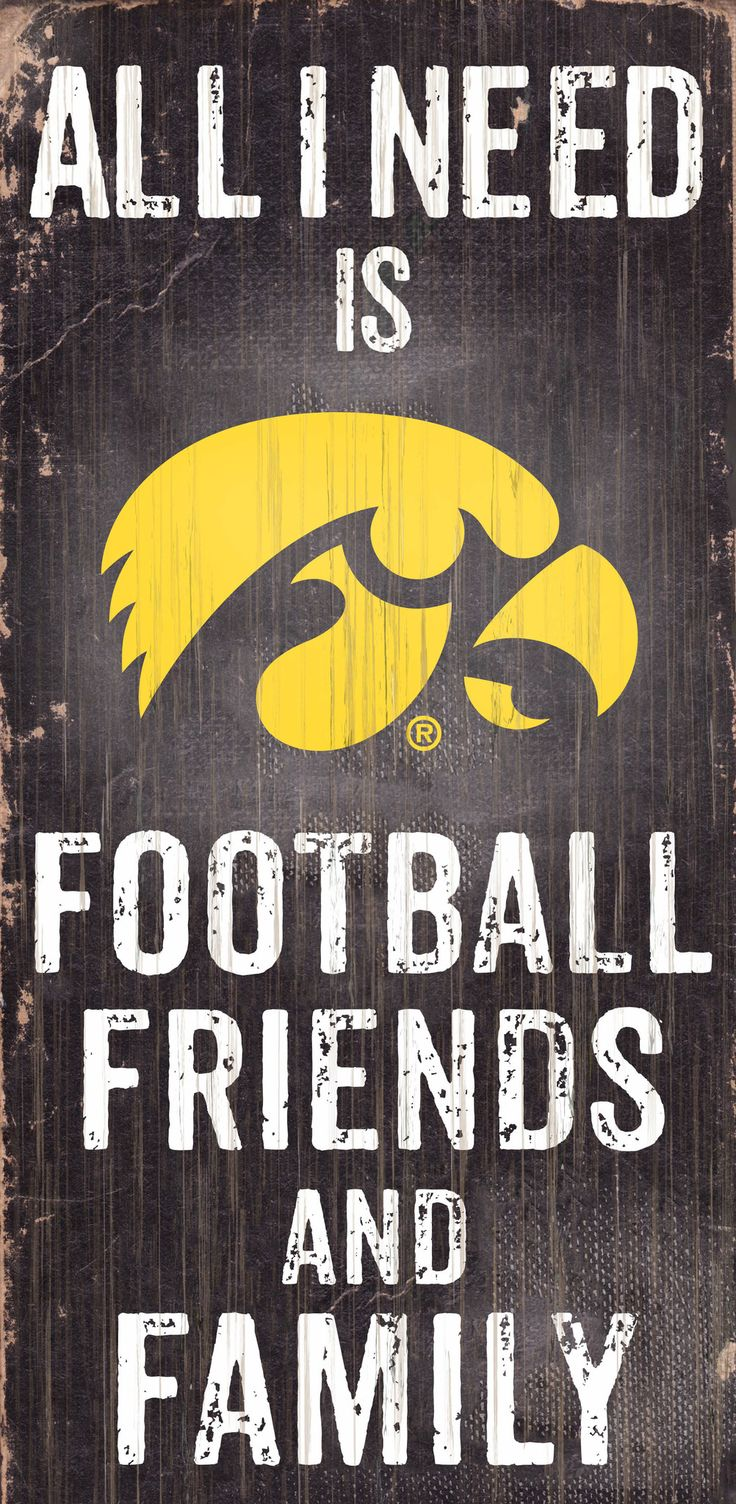 Iowa Hawkeyes Wood Sign - Football Friends and Family - 6x12 - Special Order