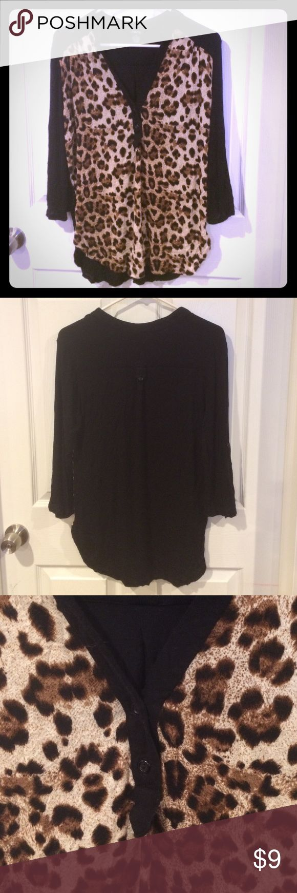 Leopard shirt Leopard shirt. 3/4 length sleeves. Can also be rolled up. Comfortable Rue 21 Tops Blouses