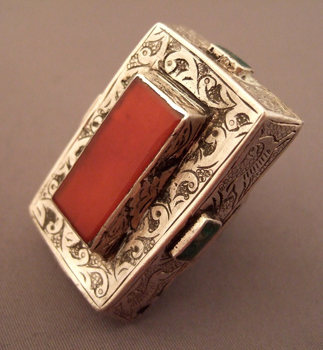 Iran | Ring; silver, turquoise and carnelian stone
