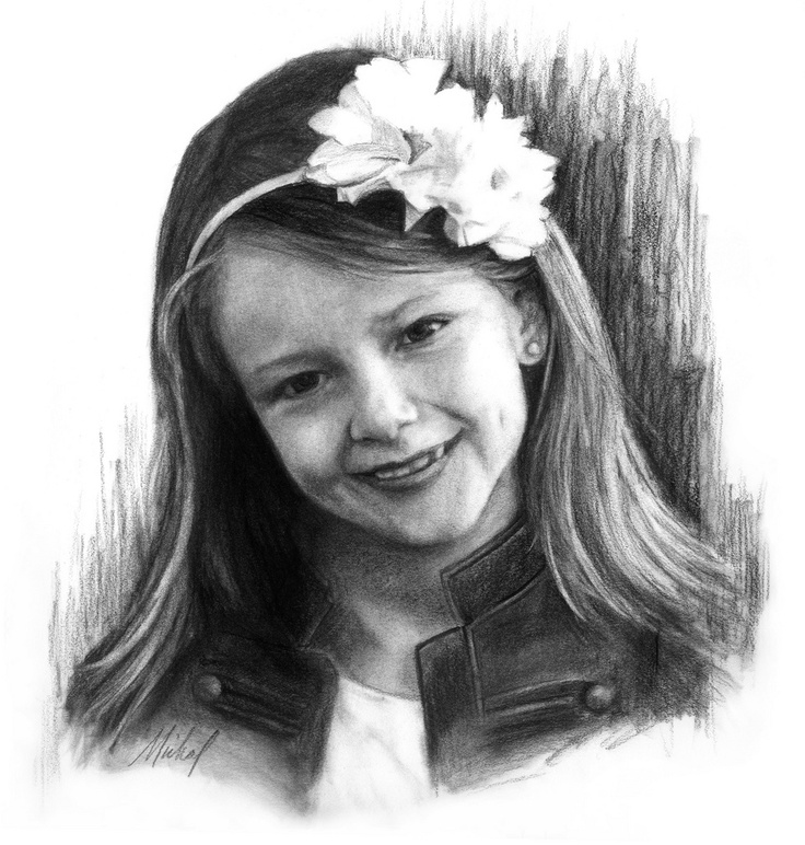 Portrait drawing of young girl — pic 15