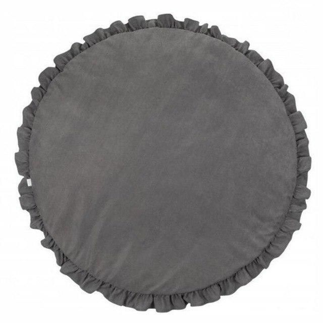 Baby Kids Round Lace Game Gym Activity Play Mat Crawling Blanket Floor Rug  Grey