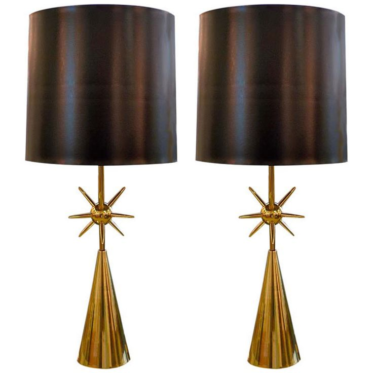 Pair of modernist brass sputnik table lamps