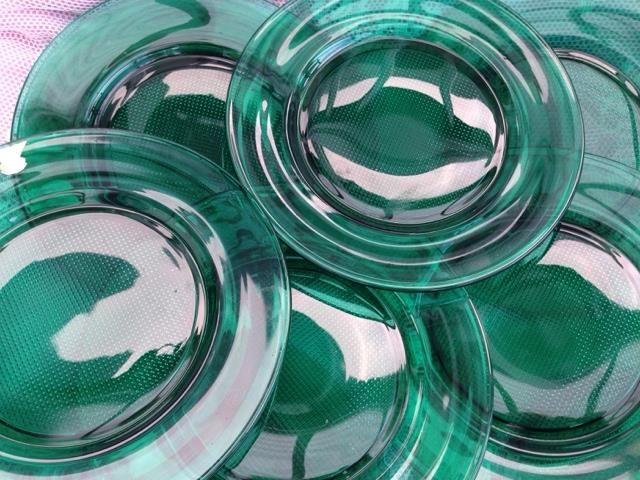 Gullaskruf tio mönstrade gröna glasassietter retro/50-tal på Tradera.com