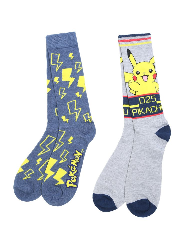 """Knit crew socks from <i>Pokemon </i>featuring<i> </i>Pikachu themed designs - one pair with an awesome Pikachu character design and one pair with yellow bolts. We choose these socks!<br><ul><li style=""""list-style-position: inside !important; list-style-type: disc !important"""">One size fits most</li><li style=""""list-style-position: inside !important; list-style-type: disc !important"""">98% polyester; ..."""