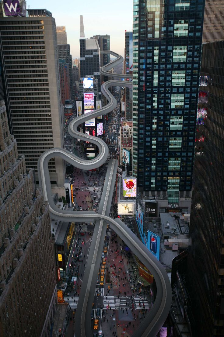 """NY Times reimagines Winter Olympics in NYC  """"Racers might begin their starting sprints 40 stories up and several blocks north of Times Square for the run down the city's own version of the Sanki Sliding Center's track, finishing in a big turn on the plaza in front of the Armed Services Recruiting Center."""""""