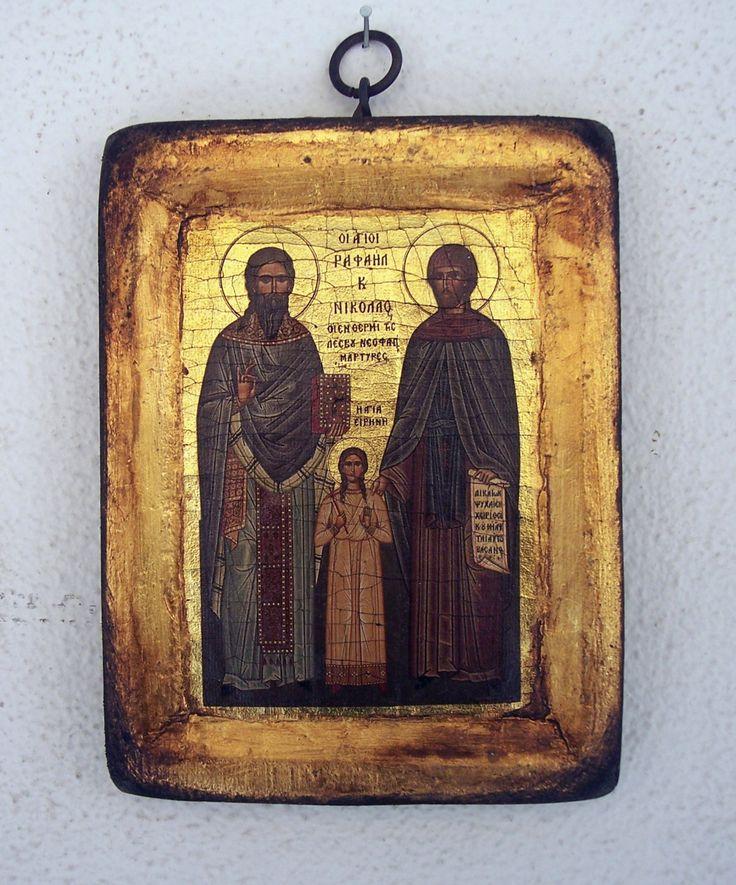 Orthodox greek religion icon with mount Athos style, vintage and byzantine style with Saint Rafael, Saint Nikolaos and Saint Irene by GardenOfLinda on Etsy