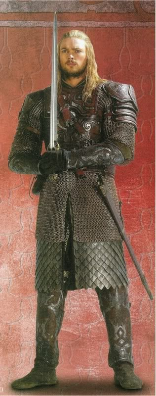 Eomer of Rohan...leather, too, but more jointed, easier to move in...as in being a horseman.  Appropriate for the nephew of a King of horsemen.