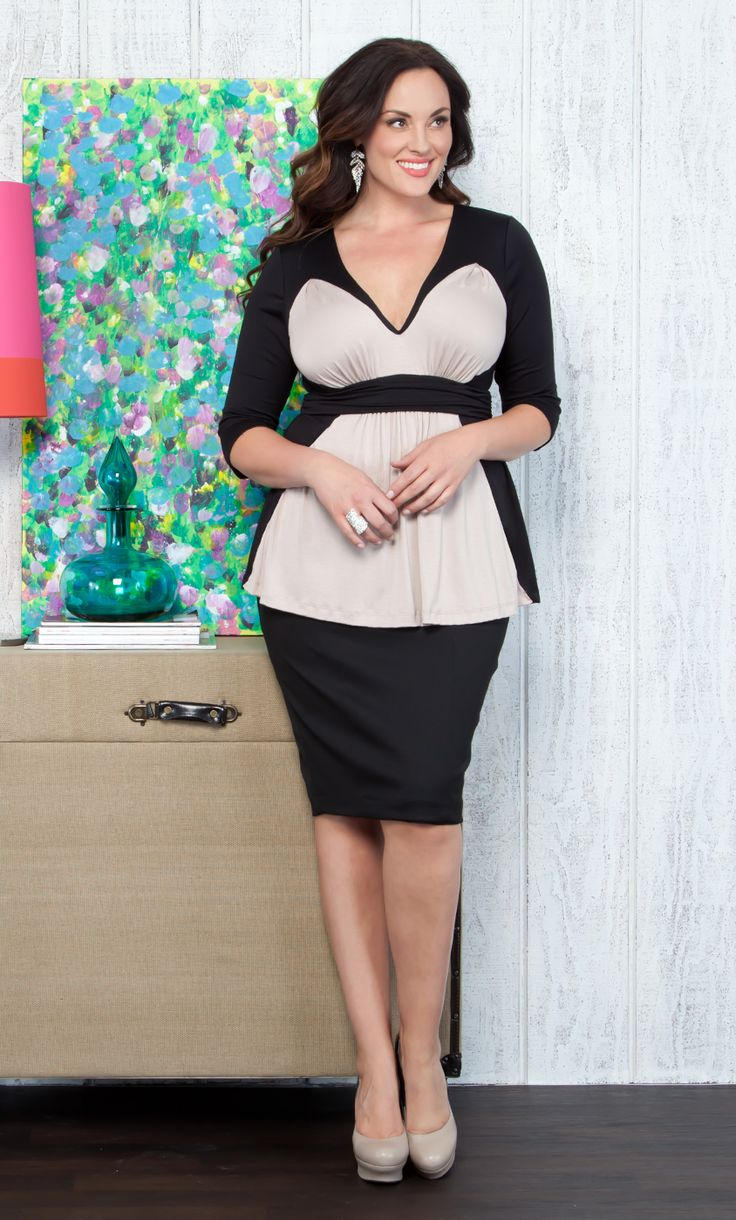 Plus Size Work Wear - Pair the Collins Colorblock Top with a simple black pencil skirt for a smart, on-trend look. #plussize #kiyonna