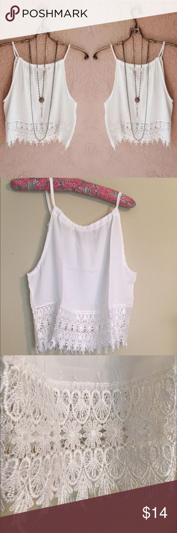 """White Cropped Sleeveless Top w Lace Boho Chic  Pair with a choker and long skirt ..... Looks great with anything.   Material: Chiffon  Size: Large Sleeveless  Please check measurements {sometimes my boutique sizes run small}  Width {from underarm seam to underarm seam} 18.5"""" Length: {from collar to bottom of lace} 14"""" Tops Crop Tops"""