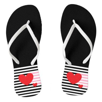 Red Hearts in Black and White Stripes Flip Flops - black and white gifts unique special b&w style