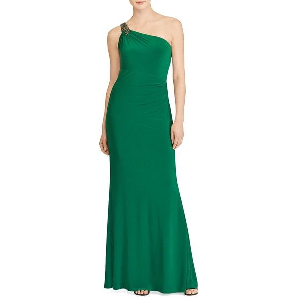 Lauren Ralph Lauren One-Shoulder Jersey Gown ($195) ❤ liked on Polyvore featuring dresses, gowns, absinthe, ralph lauren gowns, green jersey, ralph lauren evening dresses, green evening gown and lauren ralph lauren dress