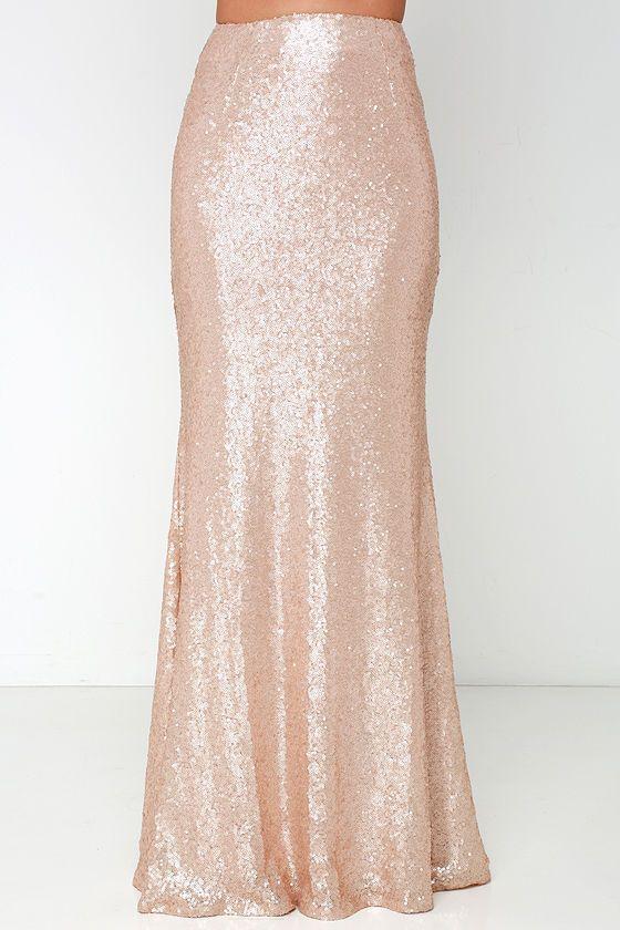 Kickin' Up Stardust Blush Sequin Maxi Skirt at Lulus.com!