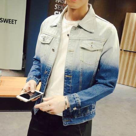Dip dye denim jacket for men plus size clothing I hate you letter jacket coat