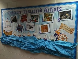 "My interactive bulletin board for the ""Sailing for Treasure"" school wide theme. We have one artist for each month we are in school. Aug/Sept and Dec/Jan are combined. One piece is featured from each artist. The students will fill out which piece they think was created by the current artist of the month. I will draw from the correct answers and that student will earn a piece of candy."