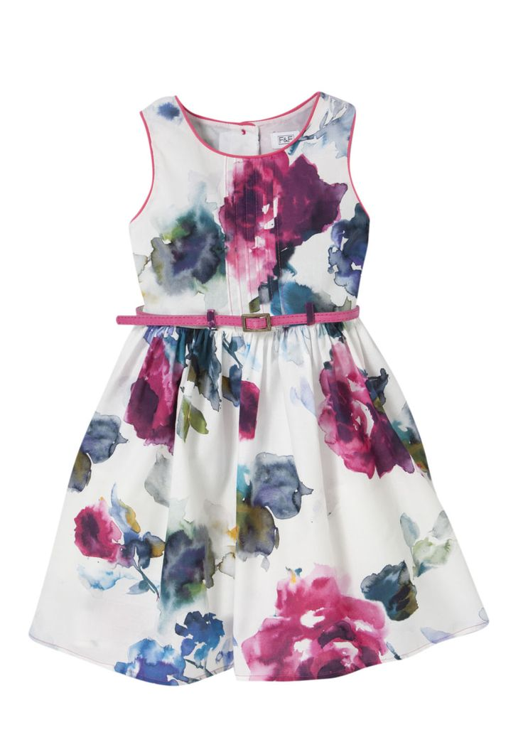 Tesco F Watercolour Floral Dress with Belt  Summer 2013 Online Exclusive at Tesco Direct - 1-7 years. AVAILABLE NOW!