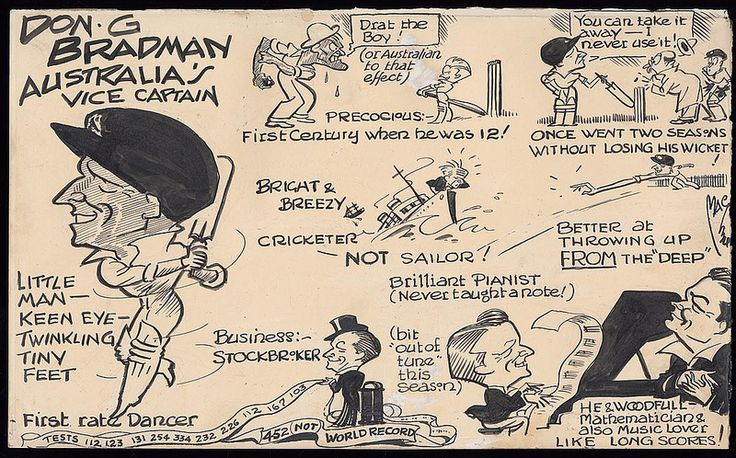 Caricature of Don Bradman's personality and cricketing profile published in the English newspaper 'News of the World' in 1930.