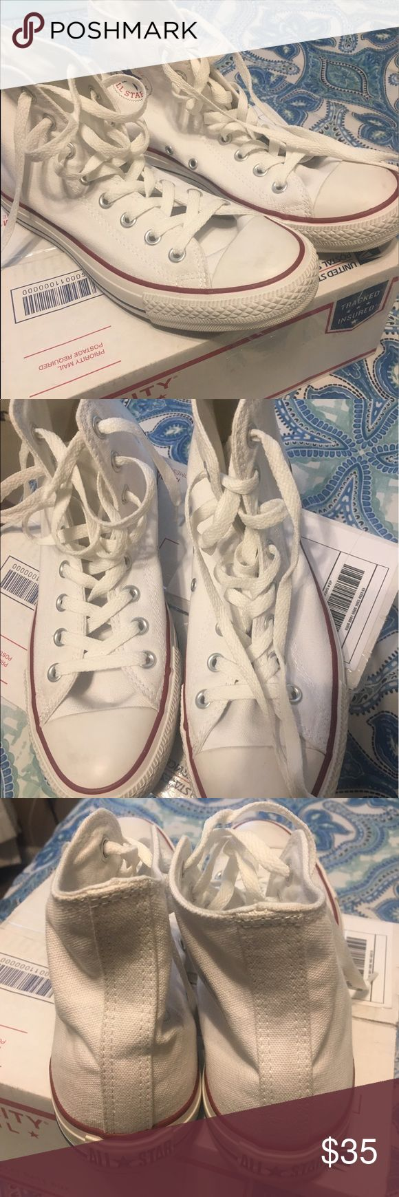 white high top converse almost brand new white high top converse. size 9.5 women's/ 7.5 men's Converse Shoes Sneakers