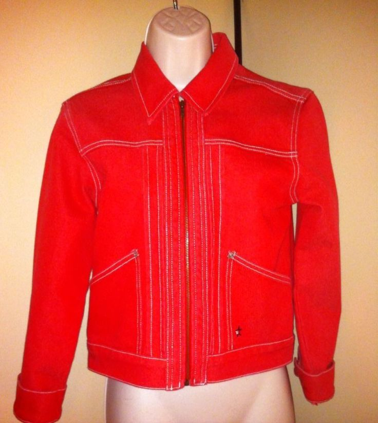 Tommy Hilfiger Jean Jacket Women's Red Size Large Zip Up Ladies Coat L Free SHIP | eBay