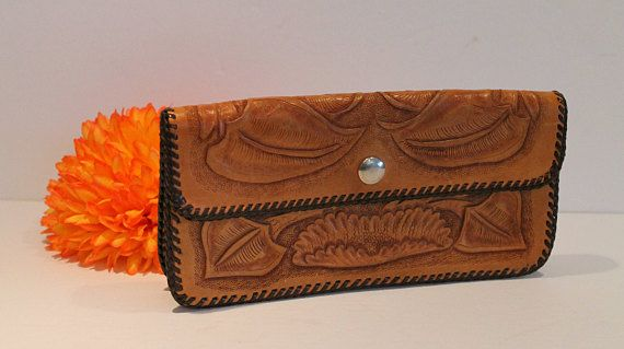 Vintage Tooled Leather Wallet  Tooled Leather Clutch Purse. FunkieFrocks on etsy. Coupon code SPRING17 for 20% off.