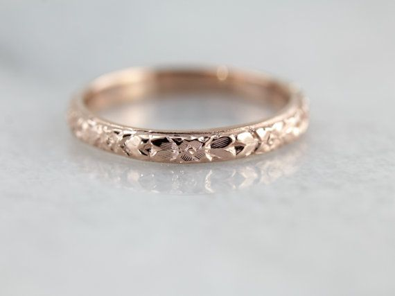 An antique engagement piece deserves the perfect antique wedding band. It can be difficult though, to find these bands in good condition, and next to impossible to find them fresh and unworn! Market Square Jewelers is proud to offer this antique Lillian band in a new, never worn edition. The pattern dates to the early 1900s, a wonderful bouquet of posies and roses that wreaths the ring in the traditional style. This ring can be produced just for you, in any size and in a variety of gold…