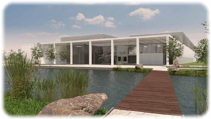 """Vor der neuen Dialysator-Fabrik will B-Braun einen Entwässerungsgraben zu einem künstlichen See mit Wasserfällen anstauen. Entwurf: Architekturbüro """"Neugebauer & Rösch""""."""