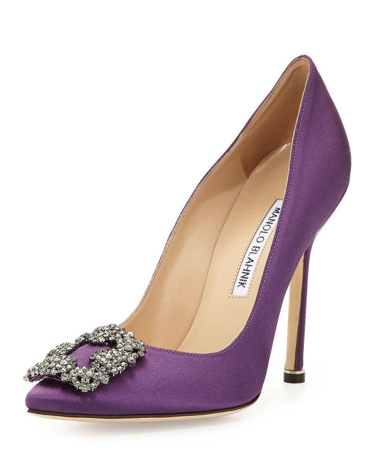 Manolo Blahnik Hangisi Satin Crystal-Toe Pump, Purple