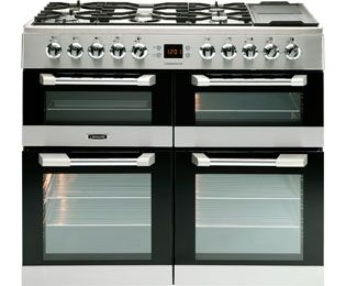 Leisure Free Standing Dual Fuel Range Cookers with Gas Hobs in Stainless Steel with LPG Convertible - standard width of 100 cm ao.com