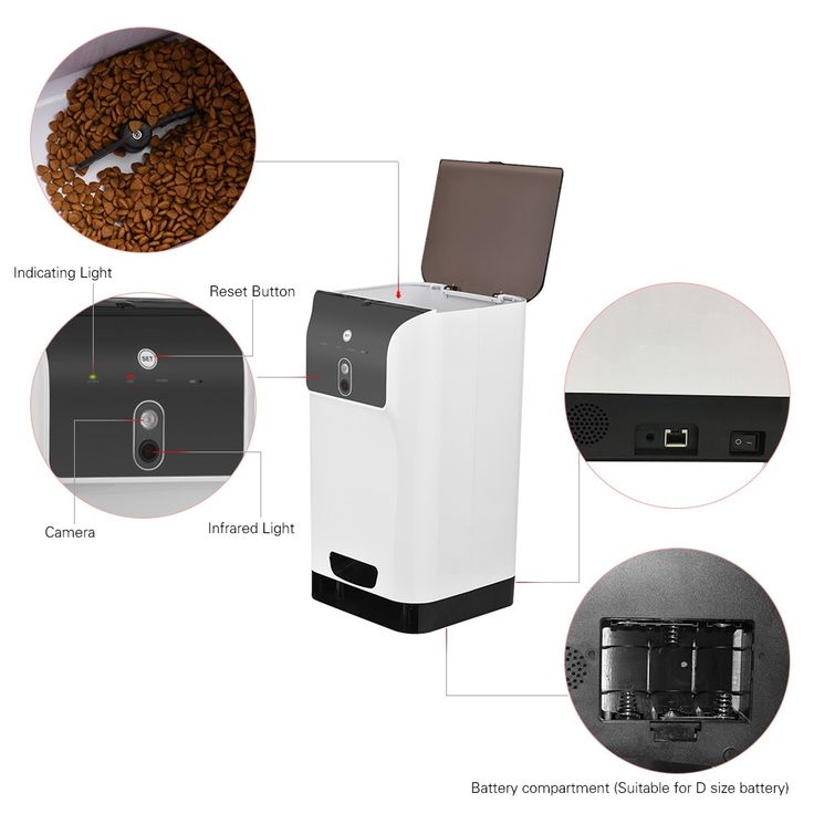 APP Automatic Pet Feeder Cat/Dog Food Dispenser 6L Storage with Camera Voice Recorder Wifi Connection Compatible for IOS/Android Sales Online Array - Tomtop