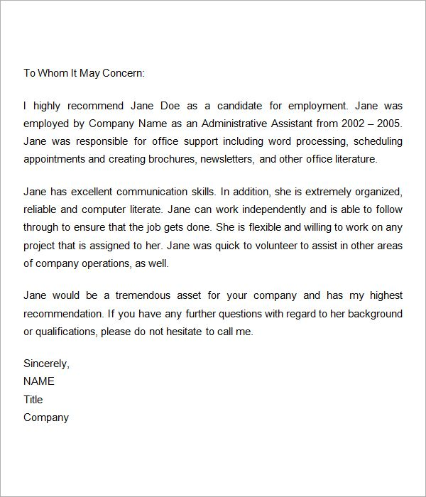 Work Letter Sample Recommendation Letters For Employment – Sample Job Reference Letter