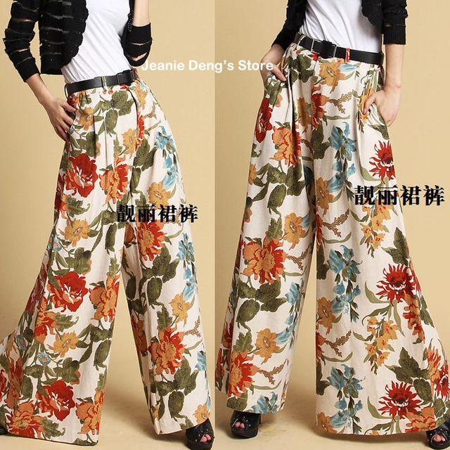 2016 весна лето женщин чешские цветочный узор широкую ногу широкий брюки женщины причинно мода брюки женщина льняные брюки