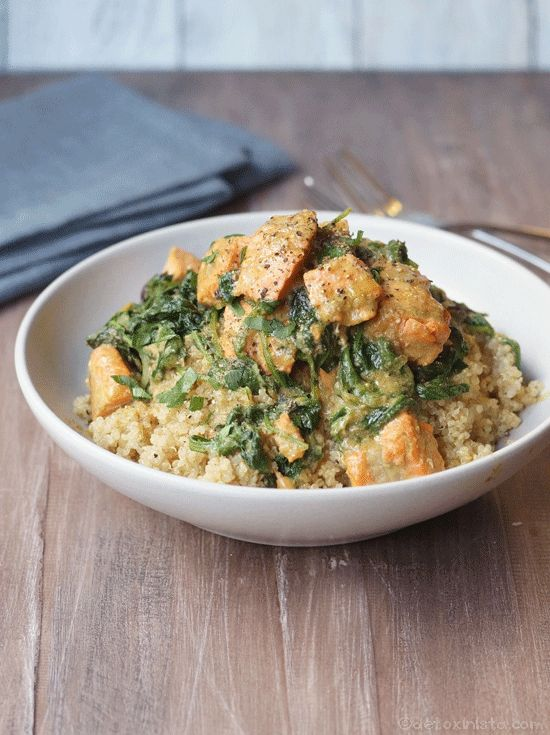 Easy Salmon Curry. Use thawed frozen salmon for an economical Friday night dinner-- perfect for Lent!