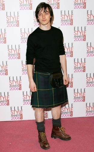 Scottish actor, James McAvoy in kilt.  I love the casual look with T-shirt and boots