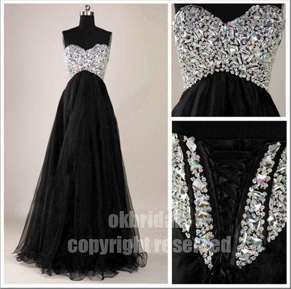black prom dress long prom dress evening prom dresses by okbridal, $178.00- so beautiful!
