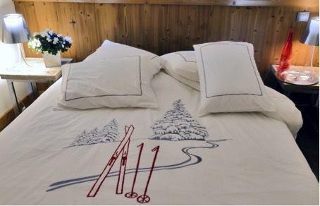Housse de couette Trace de ski Blanc  deco montagne  Vagabonde