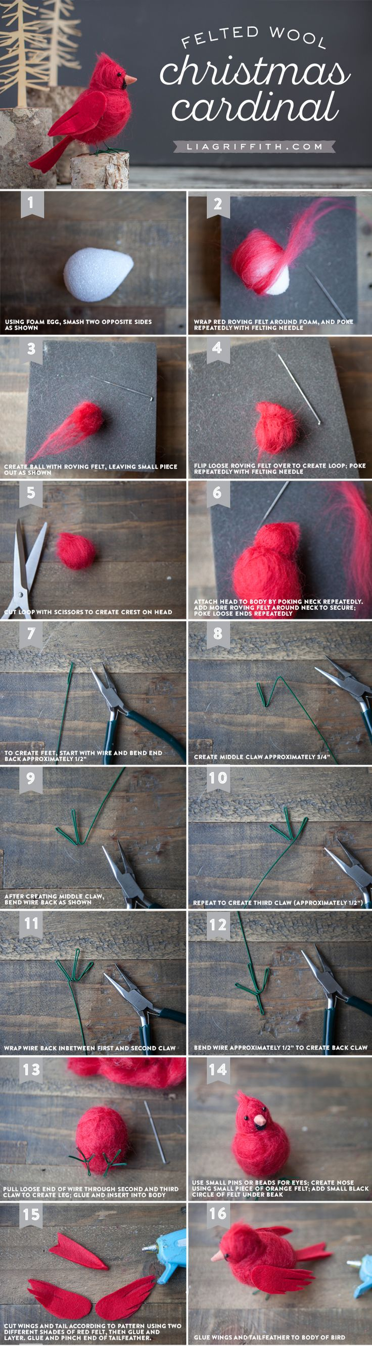 Make your own gorgeous felt cardinal bird to symbolize hope, joy, love, focus and energy. The perfect DIY tutorial by handcrafted lifestyle expert Lia Griffith
