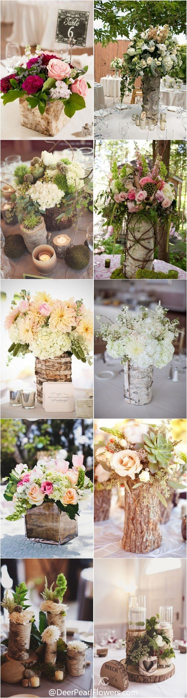 Rustic Country Wedding Ideas - Bark Container Wedding Centerpieces / http://www.deerpearlflowers.com/rustic-wedding-centerpieces-with-bark-container/