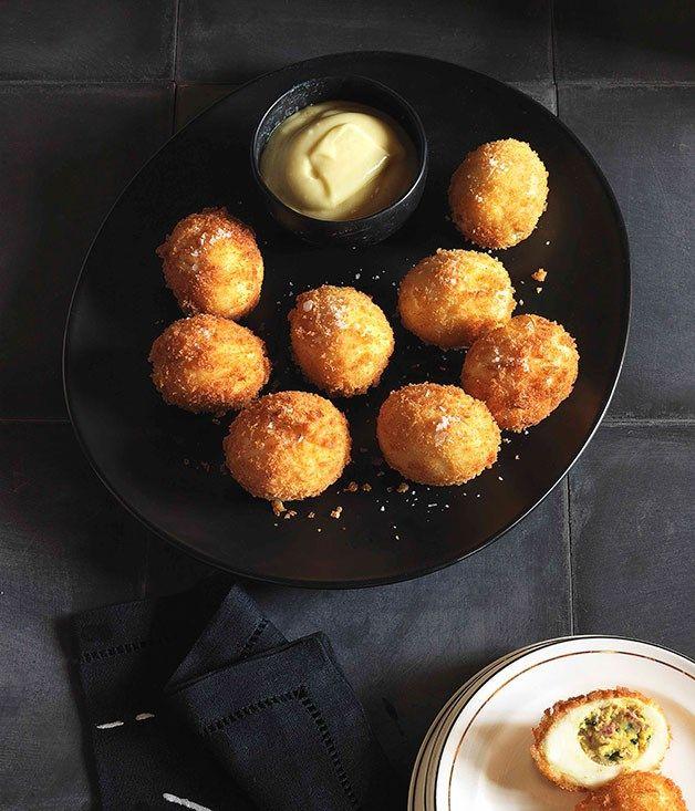 Australian Gourmet Traveller Spanish recipe for chorizo-stuffed eggs.