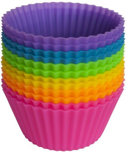 Silicone Baking Cups - Set of 12 Reusable Cupcake Liners-use in school lunch containers?